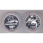 FRANCE SILVER PROOF 10 FRANCS COIN 1998 YEAR KM#1162 FIFA FOOTBALL BRASIL