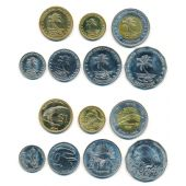 KEELING COCOS ISLANDS - 7 DIF UNC COINS SET: 0,05 - 5$ 2004 YEAR BIRD FISH