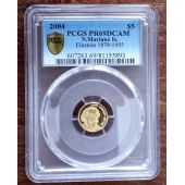 NORTHERN MARIANA ISLANDS GOLD PROOF 5$ COIN 2004 YEAR ALBERT EINSTEIN PCGS PR69