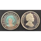 NIGHTINGALE ISLAND - RARE COLORED 1 CROWN UNC COIN 2005 YEAR QUEEN MOTHER INBLUE