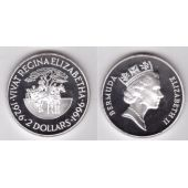 BERMUDA - SILVER PROOF 2$ COIN 1996 YEAR KM#123 QUEEN BIRTHDAY