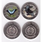 WEST NUSA TENGOARA - COLORED UNC SET OF 2 X 1$ 2016 YEAR BUTTERFLY