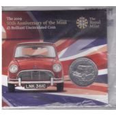ALDERNEY – BU 5 POUNDS COIN 2009 YEAR 50th ANNI MINI COOPER MINT PACK