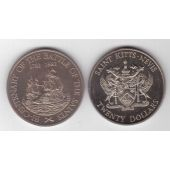 SAINT KITTS NAVIS RARE 20$ UNC COIN 1982 YEAR KM#4 200th ANNI BATTLE SAINTS SHIP