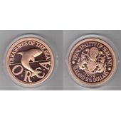 SEALAND PRINCIPALITY - BRONZE PROOF GIANT 2-1/2 DOLLAR UNC 1994 YEAR ORCA WHALE
