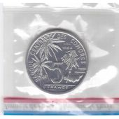 COMOROS - 5 FRANCS UNC COIN 1984 YEAR KM#E9 ESSAI FISH SEALED