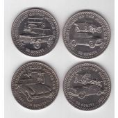 TONGA - 4 X DIF 50 SENITI UNC COINS SET 1985 YEAR KM#82-85 100th ANNI AUTOMOBILE