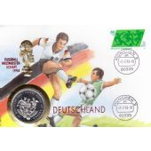 UGANDA - 1000 SHILLINGS PROOF COIN 1994 YEAR CORNER GERMANY SOCCER WORLD CUP FDC
