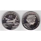SOUTH GEORGIA & SANDWICH ISLANDS - 2 POUNDS UNC COIN 2008 YEAR 90th ANNI RAF