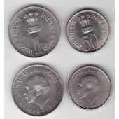 INDIA - 2 DIF UNC COINS SET: 0,5 & 1 RUPEE 1964 YEAR NEHRU