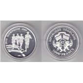 TOGO - SILVER PROOF 1000 FRANCS UNC COIN 2003 YEAR OLYMPIC RUNNERS