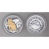 LIBERIA - SILVER GOLD PLATTED PROOF 10$ COIN 2004 YEAR MEXICO PUMA
