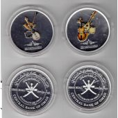 OMAN - 2 COLORED SILVER PROOF 1 RIAL COINS SET 2011 YEAR KM#169+171 OPERA VIOLIN
