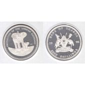 UGANDA - RARE ESSAI SILVER PROOF 2000 SHILLINGS COIN 1995 YEAR ELEPHANT