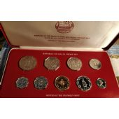 MALTA - PROOF 9 DIF COINS MINT SET 2 MILS - 50 CENTS 1976 YEAR + BOX + COA