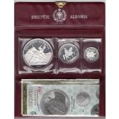 ALBANIA SILVER PROOF 3 DIF COINS SET 5 - 25 LEK 1969 YEAR PSA4 COA+BOX MIN 1500