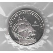 MARSHALL ISLANDS – RARE 5$ UNC COIN 1997 YEAR KM#398 SHIP USS CONSTITUTION