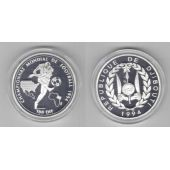DJIBOUTI - SILVER PROOF 100 FRANC COIN 1994 YEAR KM#29 SOCCER FIFA WORLD CUP USA