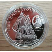 COOK ISLANDS - SILVERCLAD PROOFLIKE 1$ COIN 2009 YEAR SHIP HMB ENDEAVOUR COOK