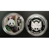 CENTRAL AFRICAN REPUBLIC COLORED SILVER PLATTED PROOF 100 FRANCS 2015 YEAR PANDA