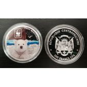 CENTRAL AFRICAN REPUBLIC COLORED SILVER PLATTED PROOF 100 FRANCS 2015 POLAR BEAR