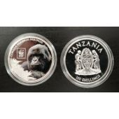 TANZANIA COLORED SILVER PLATTED PROOF 100 SHILLINGS COIN 2016 GORILLA MONKEY