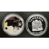TANZANIA COLORED SILVER PLATTED PROOF 100 SHILLINGS COIN 2016 PENGUIN