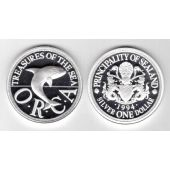 SEALAND PRINCIPALITY – RARE SILVER PROOF 1 DOLLAR COIN 1994 YEAR ORCA WHALE X#9