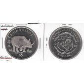 LIBERIA 5$ UNC COIN 1997 YEAR KM#581 ANIMAL RHINO