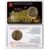 VATICAN - RARE 50 CENTS UNC COIN 2010 YEAR POPE BENEDICT XVI IN FOLDER