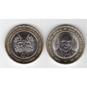 KENYA – 40 SHILLINS BIMETAL UNC COIN 2003 YEAR 40th ANNI INDEPENDENCE