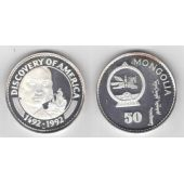 MONGOLIA RARE SILVER PROOF 50 TOGROG COIN 1992 YEAR KM#57 SHIP COLUMBUS