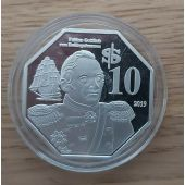 MACQUARIE ISLAND SILVERCLAD 10$ PROOF 2019 YEAR SHIP BELLINGSHAUSEN EXPEDITION