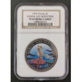 PALAU RARE COLORED 1$ PROOF COIN 1995 YEAR SEAHORSE NGC GRADING PF69