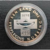 SOUTH AFRICA - RARE SILVER 1 RAND UNC COIN 1991 YEAR KM#142 NURSING SCHOOL