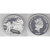 COOK ISLANDS - SILVER PROOF 5$ COIN 1999 YEAR 20th CENTURY MOON