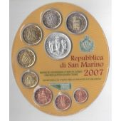 SAN MARINO 9 DIF UNC COINS SET 1 CENT - 5 EURO SILVER 2007 YEAR MINT PACK