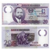 MOZAMBIQUE - NEW ISSUE 20 METICAIS UNC BANKNOTE 2011 YEAR POLYMER
