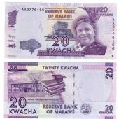 MALAWI - NEW ISSUE 20 KWACHA UNC BANKNOTE 2012 YEAR
