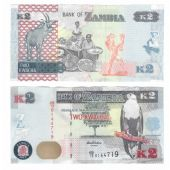 ZAMBIA - NEW ISSUE 2 KWACHA UNC BANKNOTE 2012 YEAR DEER