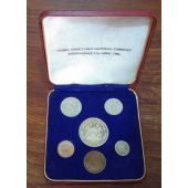 SIERRA LEONE - 6 DIF PROOF COINS SET: 1/2 CENT - 1 LEONE 1964 YEAR + BOX