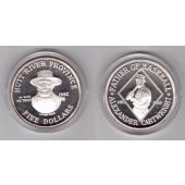 HUTT RIVER PROVINCE SILVER PROOF 5$ COIN 1992 YEAR BASEBALL ALEXANDER CARTWRIGHT