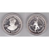 HUTT RIVER PROVINCE - SILVER PROOF 5$ COIN 1992 YEAR BASEBALL HARRY WRIGHT
