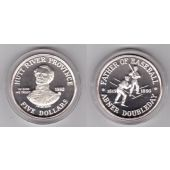 HUTT RIVER PROVINCE - SILVER PROOF 5$ COIN 1992 YEAR BASEBALL ABNER DOUBLEDAY