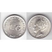 CURACAO - SILVER 1/4 GULDEN UNC COIN 1947 YEAR KM#44