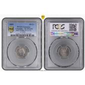 ITALY NAPLES & SICILY - SILVER 10 GRANA COIN 1855 YEAR KM#364 GRADING PCGS AU