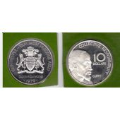 GUYANA - SILVER PROOF COIN 10 DOLLARS 1979 YEAR KM#44a 10th ANNI INDEPENDENCE