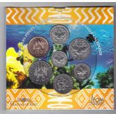 NEW CALEDONIA - BANK ISSUE 7 DIF COINS SET 1 - 100 FRANCS 2002 YEAR MINT FOLDER