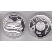 KYRGYZSTAN - SILVER PROOF 10 SOM UNC COIN 2012 YEAR KM#53 LEOPARD + BOX+COA