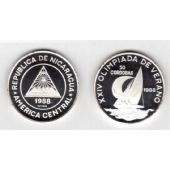 NICARAGUA - RARE SILVER PROOF 50 CORDOBAS 1988 YEAR KM#62 SAILBOAT SEOL OLYMPIC